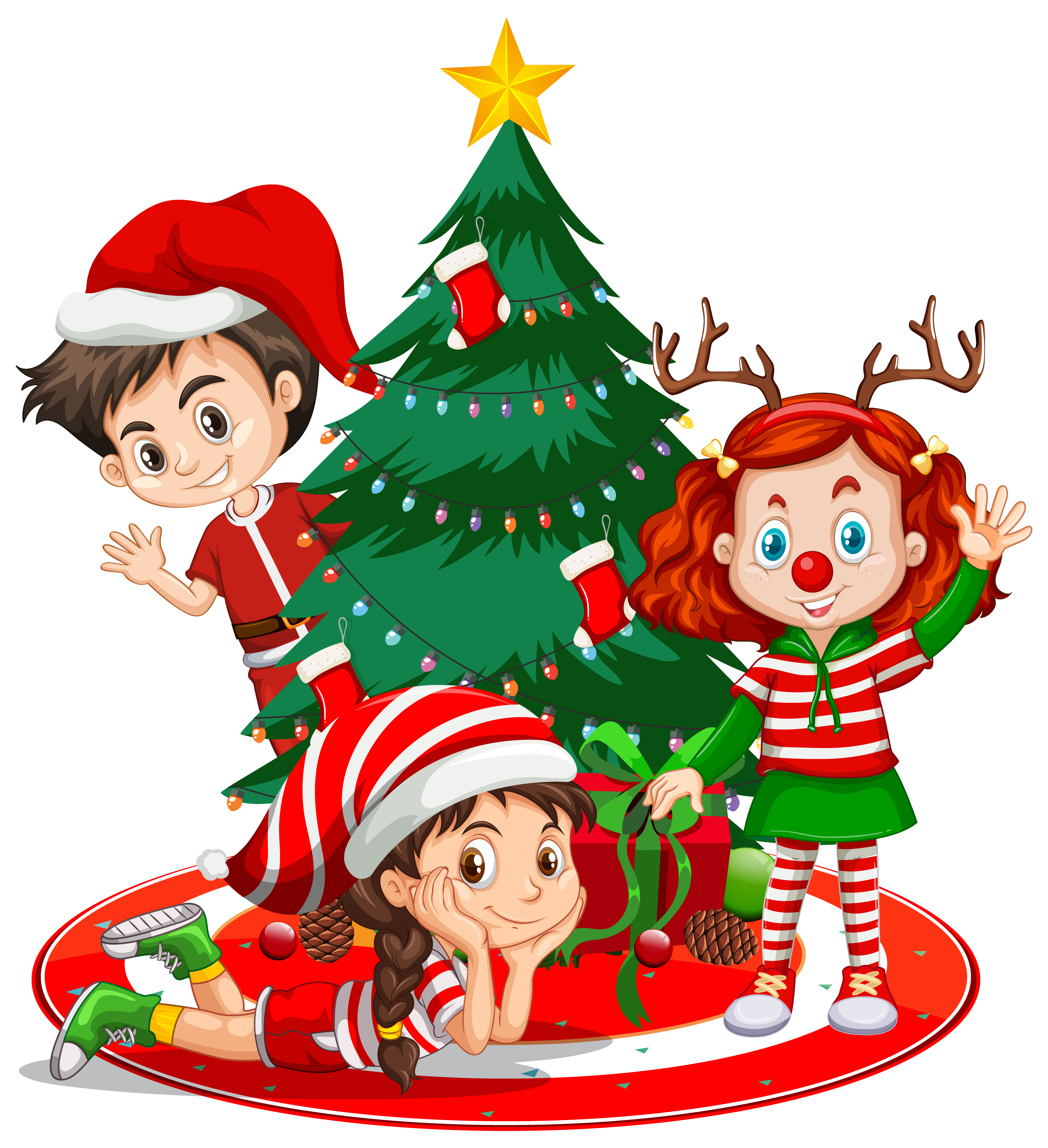 Children Wear Christmas Costume Cartoon Character With Christmas Tree On White Background Download Free Vectors Clipart Graphics Vector Art 13,000+ vectors, stock photos & psd files. vecteezy
