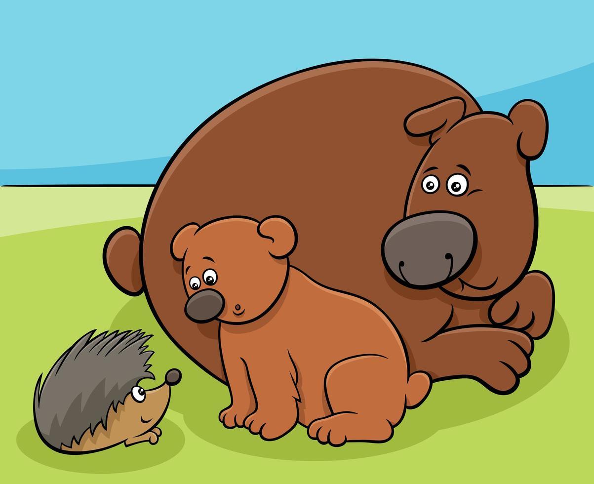 osito con mamá y personajes de animales erizos vector
