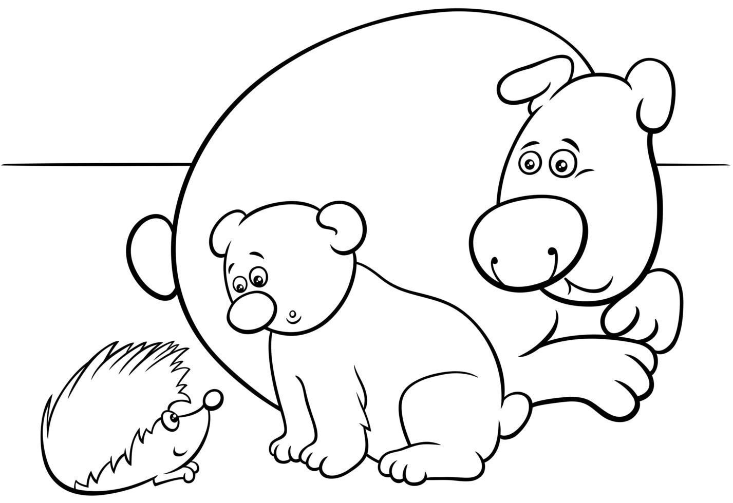 osito con personajes de animales madre y erizo vector