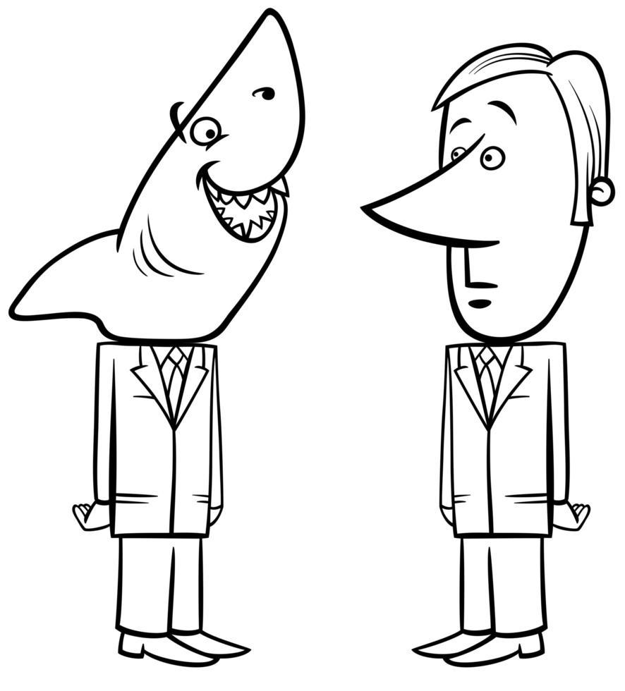 tiburón de negocios y joven empresario vector