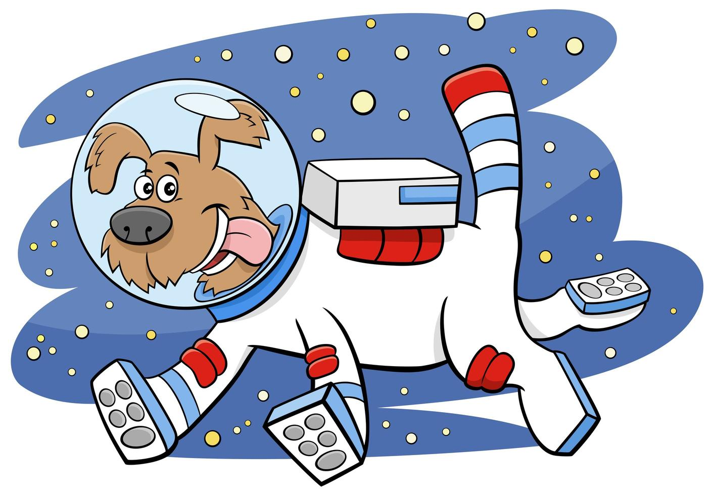 Perro de dibujos animados en el espacio cómico personaje animal vector