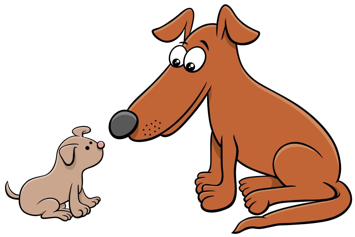 personajes de animales de dibujos animados de cachorros y perros adultos vector