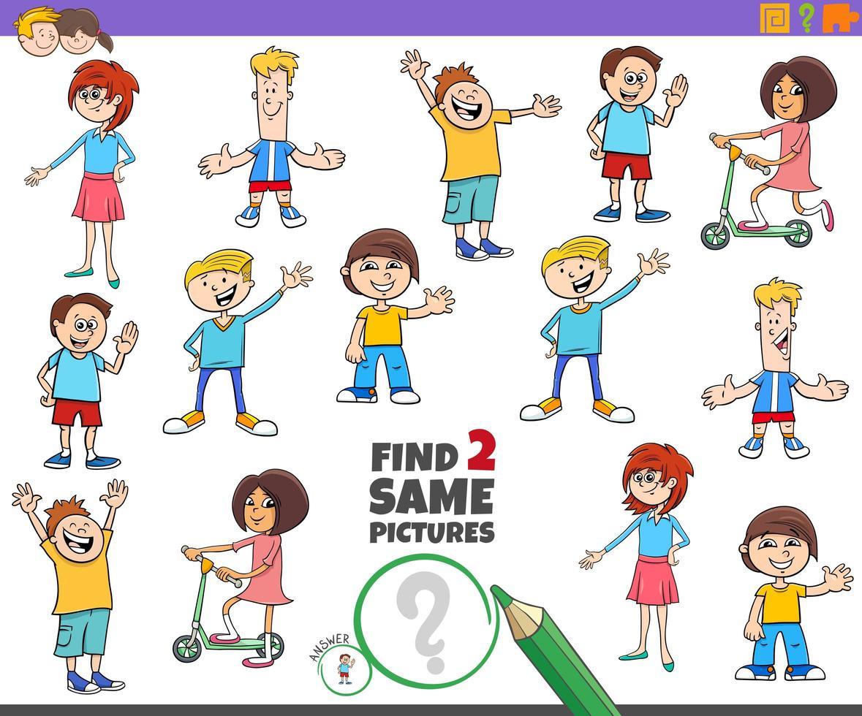 Encuentra dos juegos educativos iguales para niños. vector