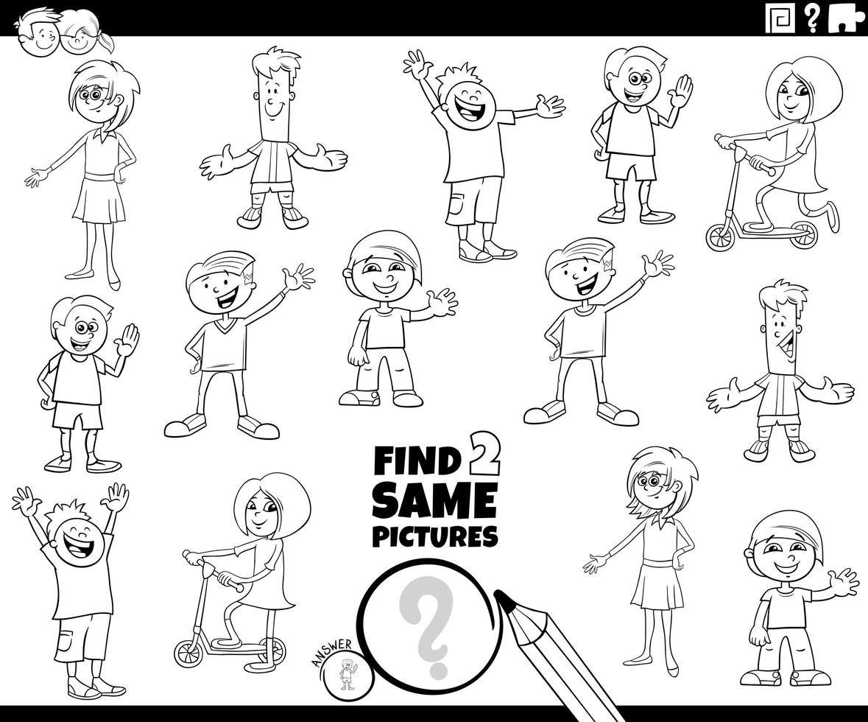 Encuentra dos mismos niños para colorear juego de libro vector
