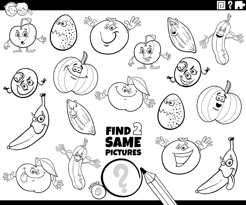 Encuentra dos mismos personajes juego de libro para colorear vector