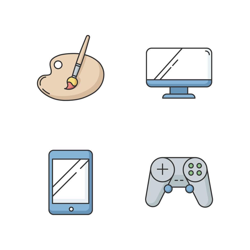 conjunto de iconos de color rgb de recreación vector