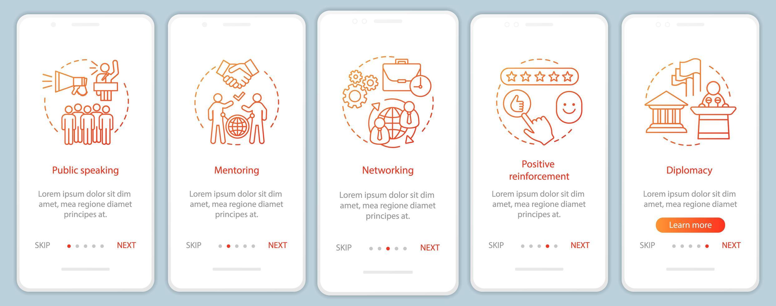 pantalla de la página de la aplicación móvil de incorporación de habilidades blandas empresariales vector