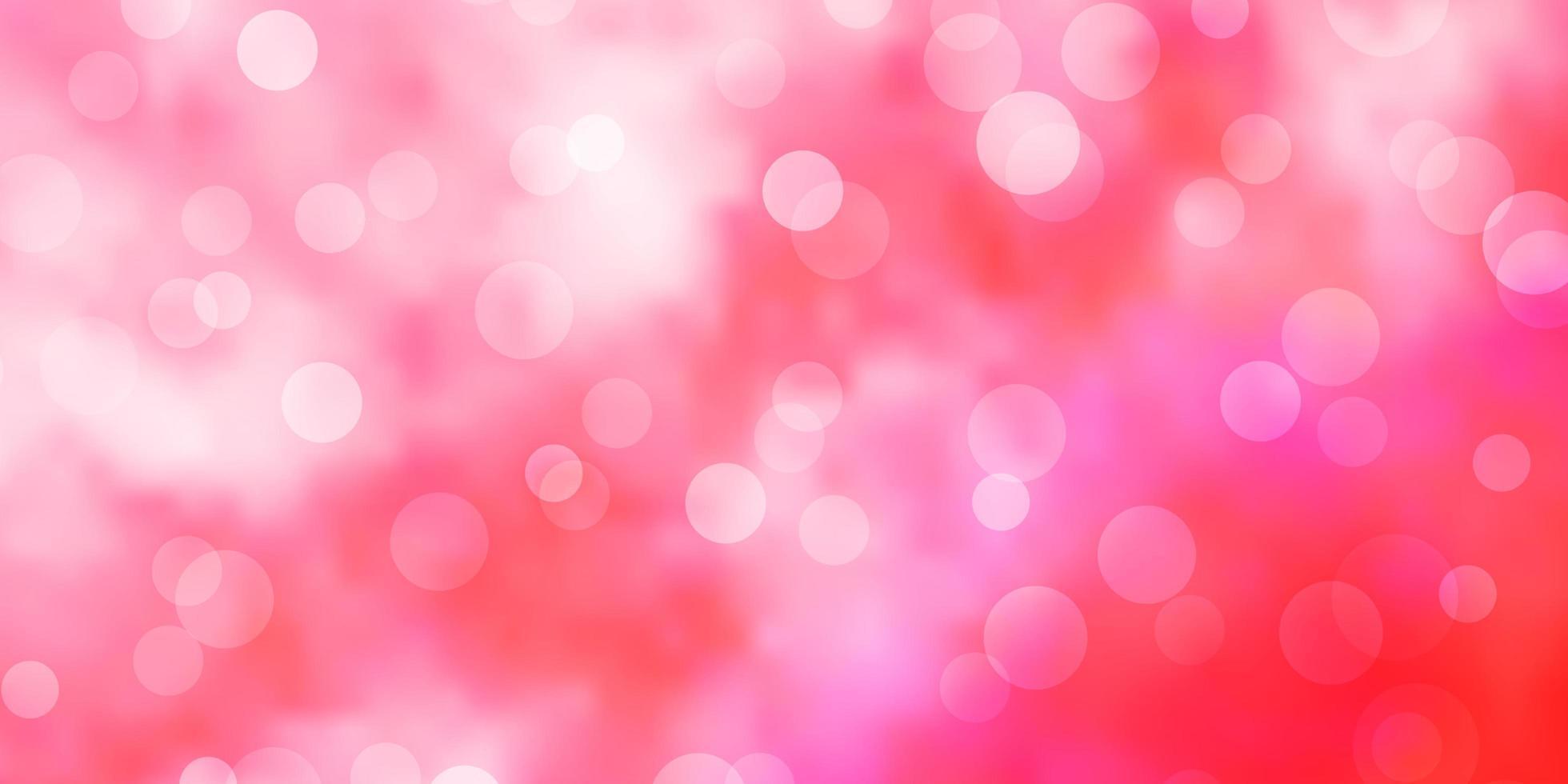 patrón de vector rosa claro con círculos.