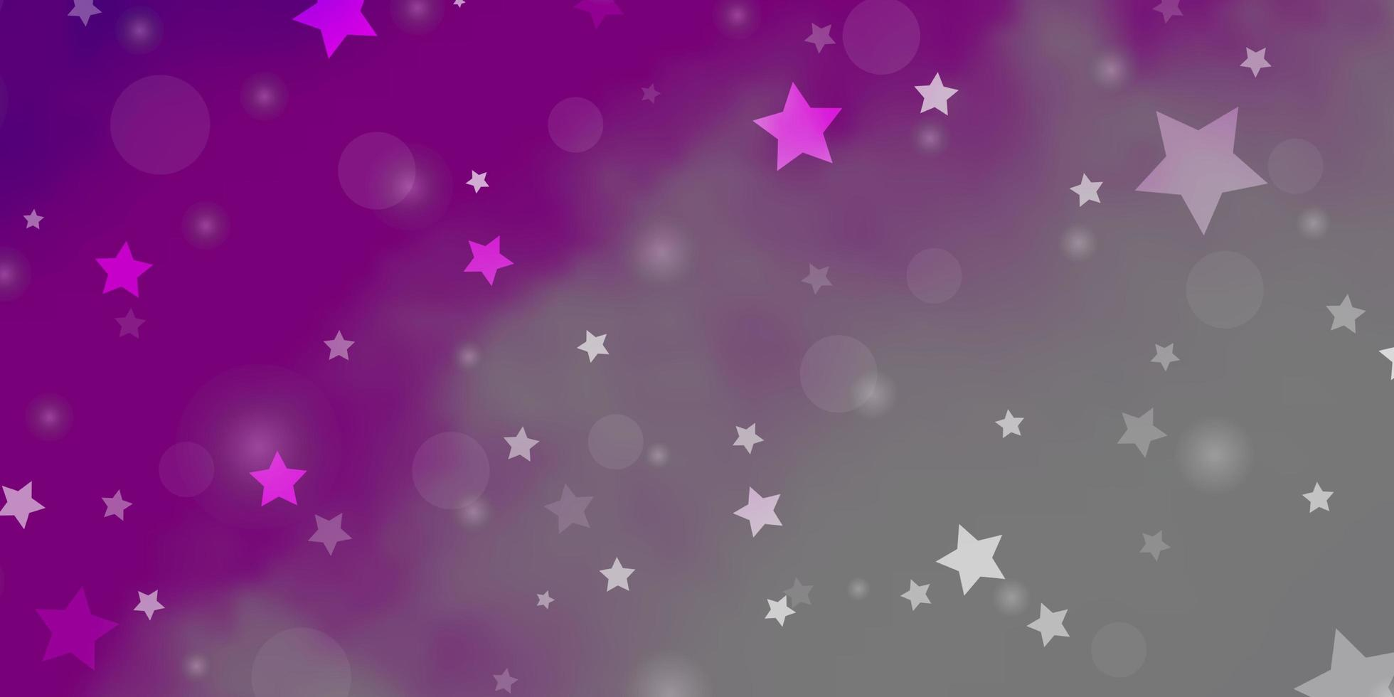 Pink layout with circles, stars. vector