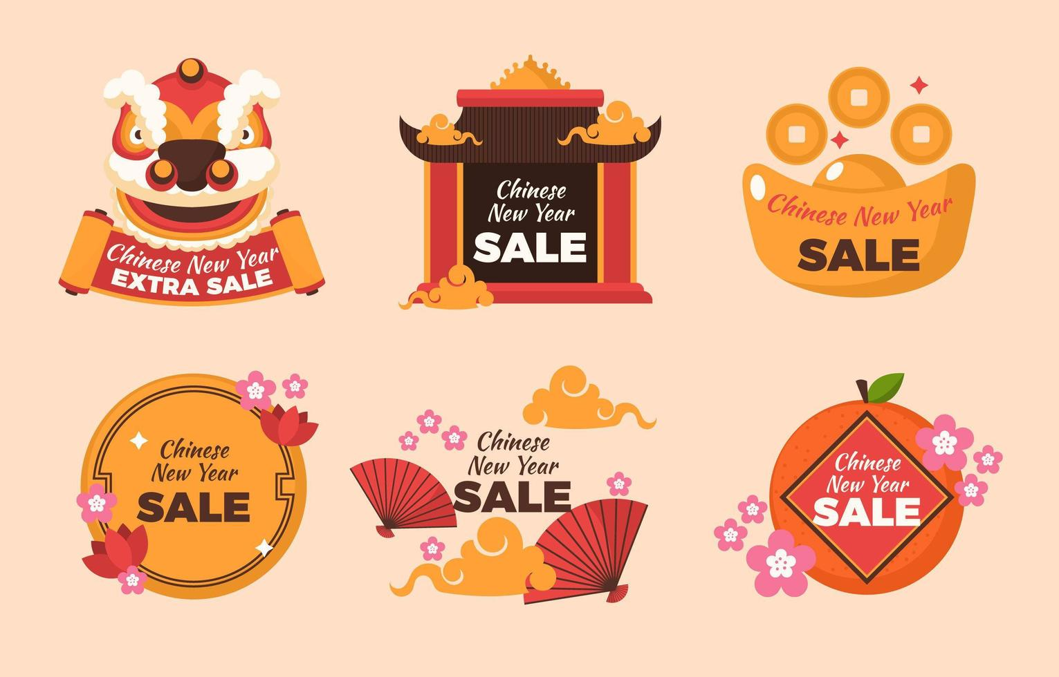 Chinese New Year Festival Themed Sale vector