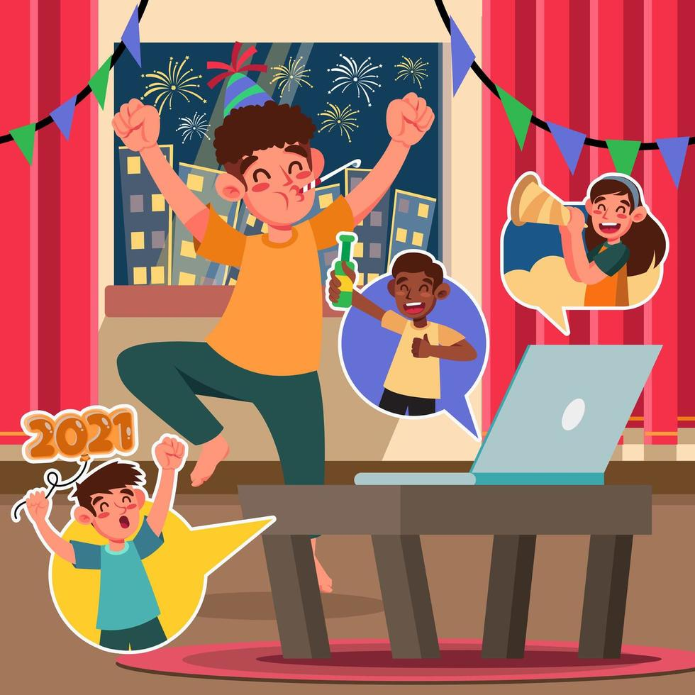 Fun Celebration New Year with Video Call vector
