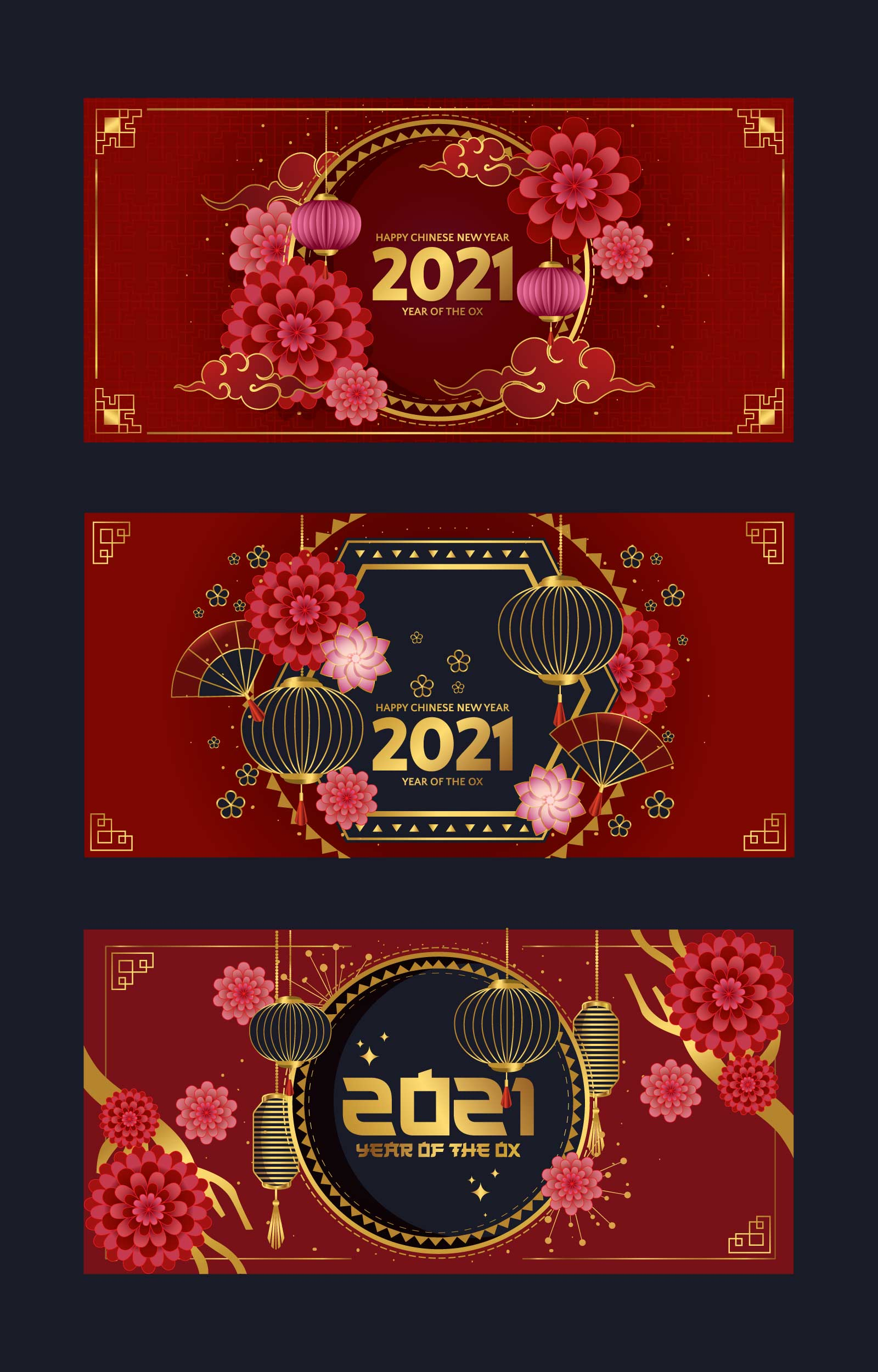 Red And Gold Chinese New Year Card Download Free Vectors Clipart Graphics Vector Art