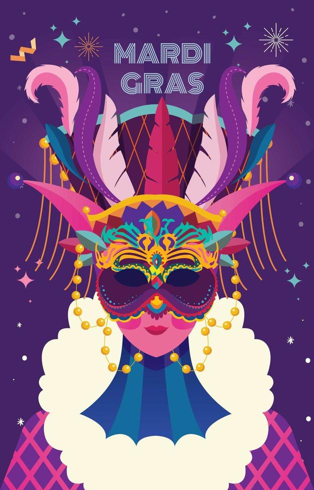 Purple and Pink Mardi Gras Mask vector