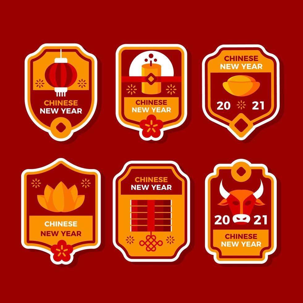 Chinese New Year Label Collection vector