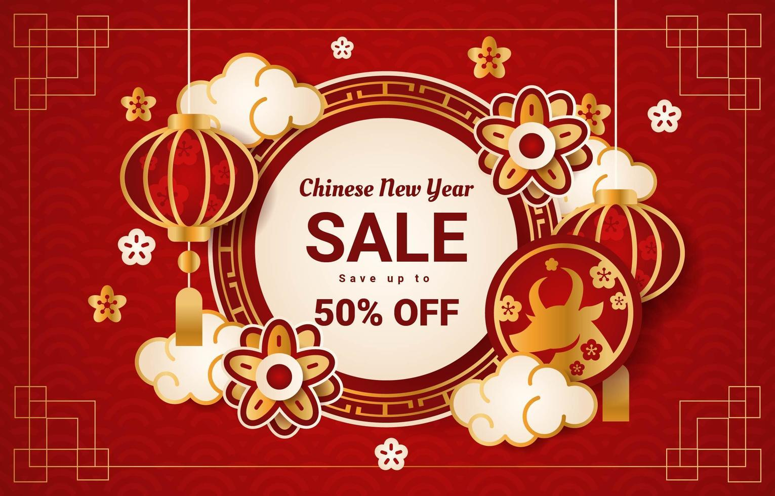 Chinese New Year Sale vector