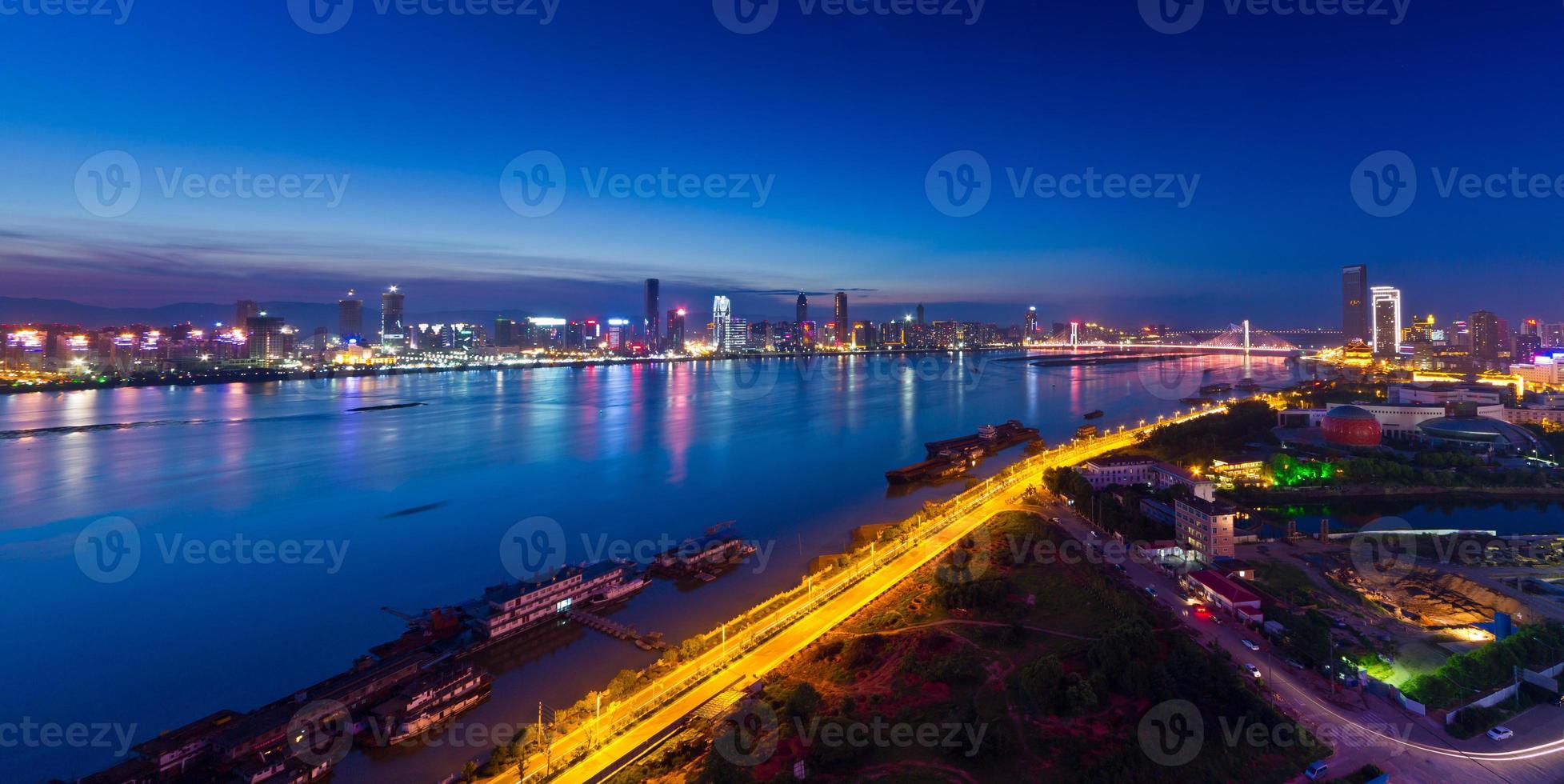 Gan river on both sides at night photo