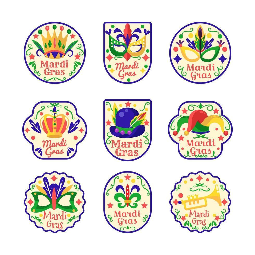 Mardi Gras sticker set vector