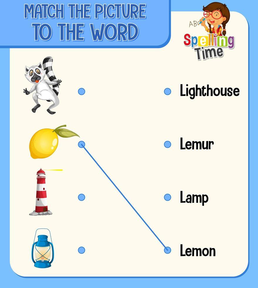 Haga coincidir la imagen con la hoja de trabajo de palabras para niños. vector