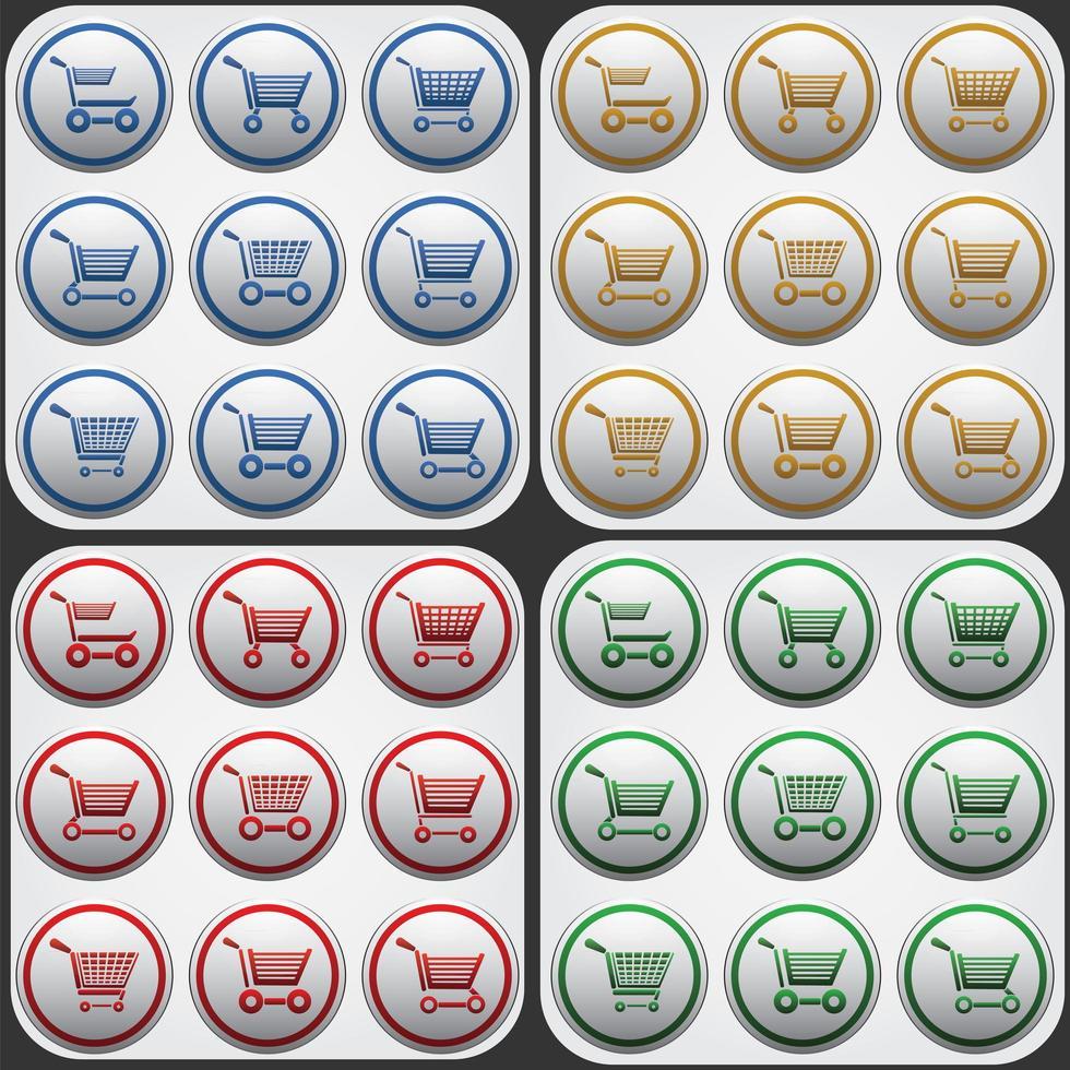 icono plano de carrito de compras en círculos grises vector