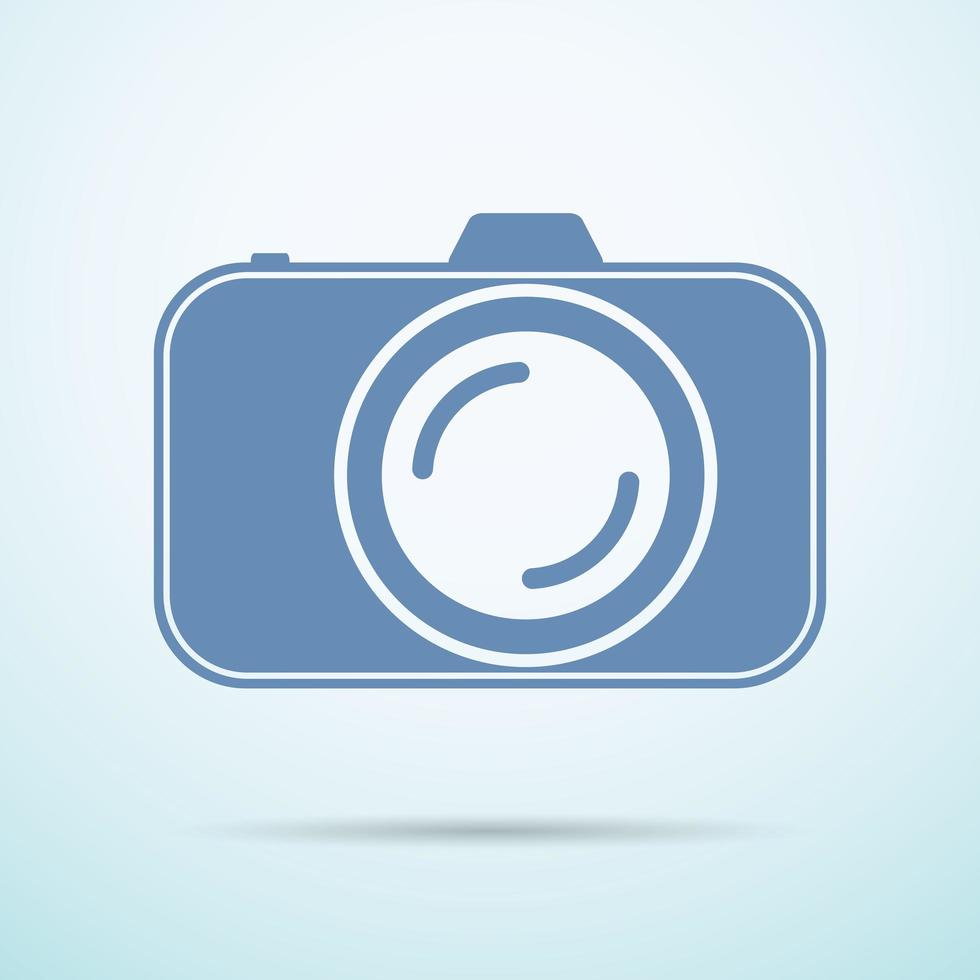 Professional photocamera flat icon on blue background vector