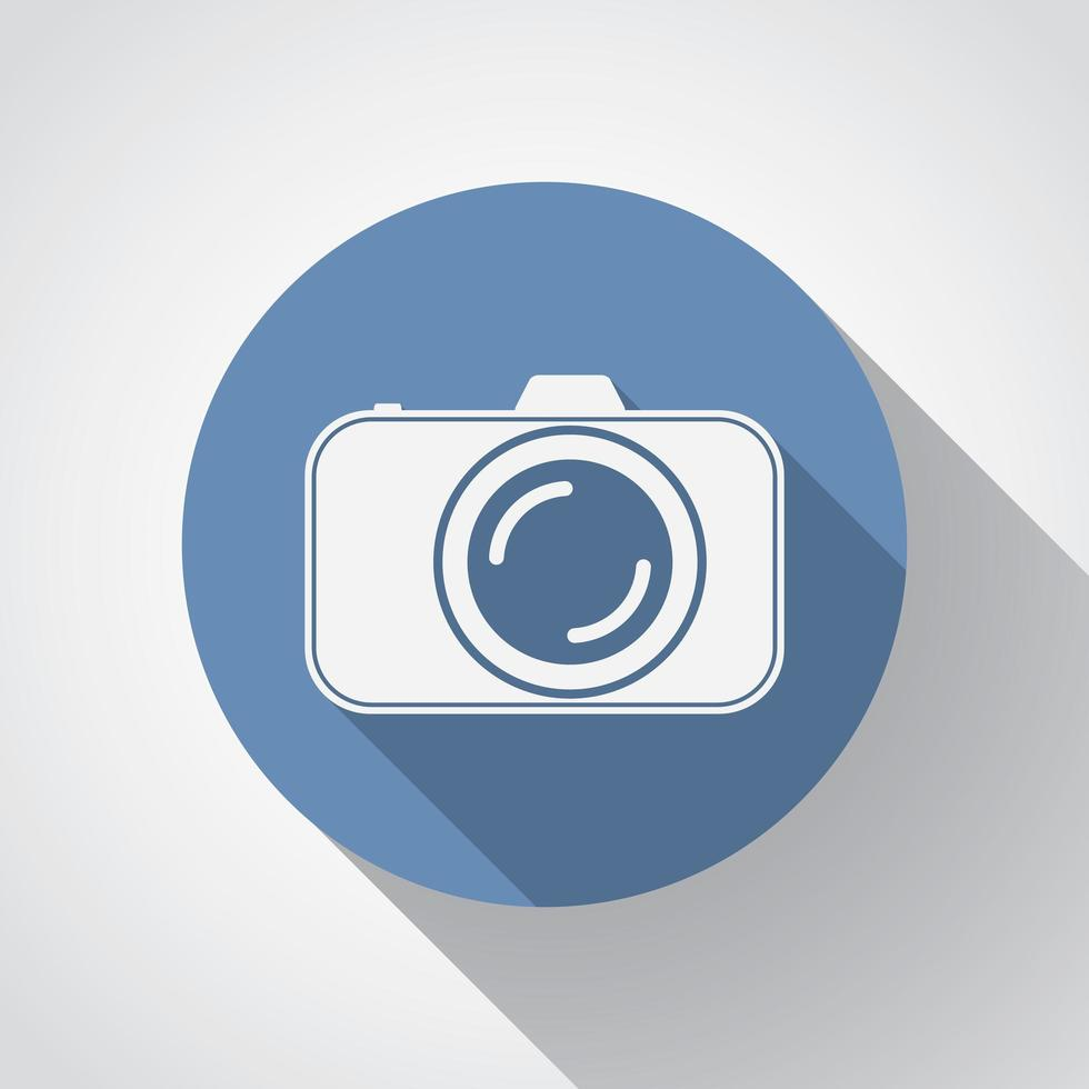 Professional photocamera flat icon with long shadow vector