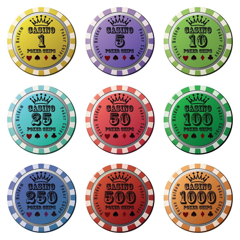 Poker chips set isolated white background vector