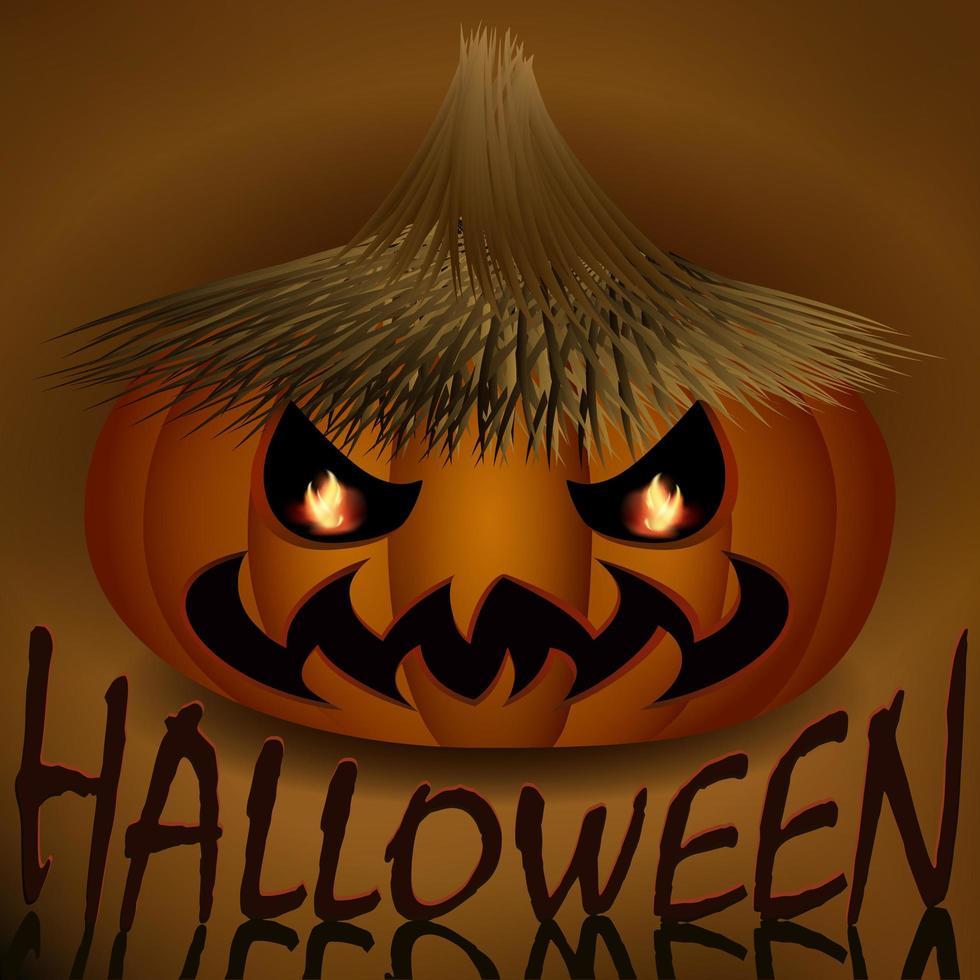 calabaza malvada de halloween en sombrero de paja vector