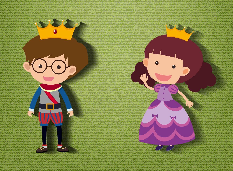 principito y princesa personaje de dibujos animados sobre fondo verde vector
