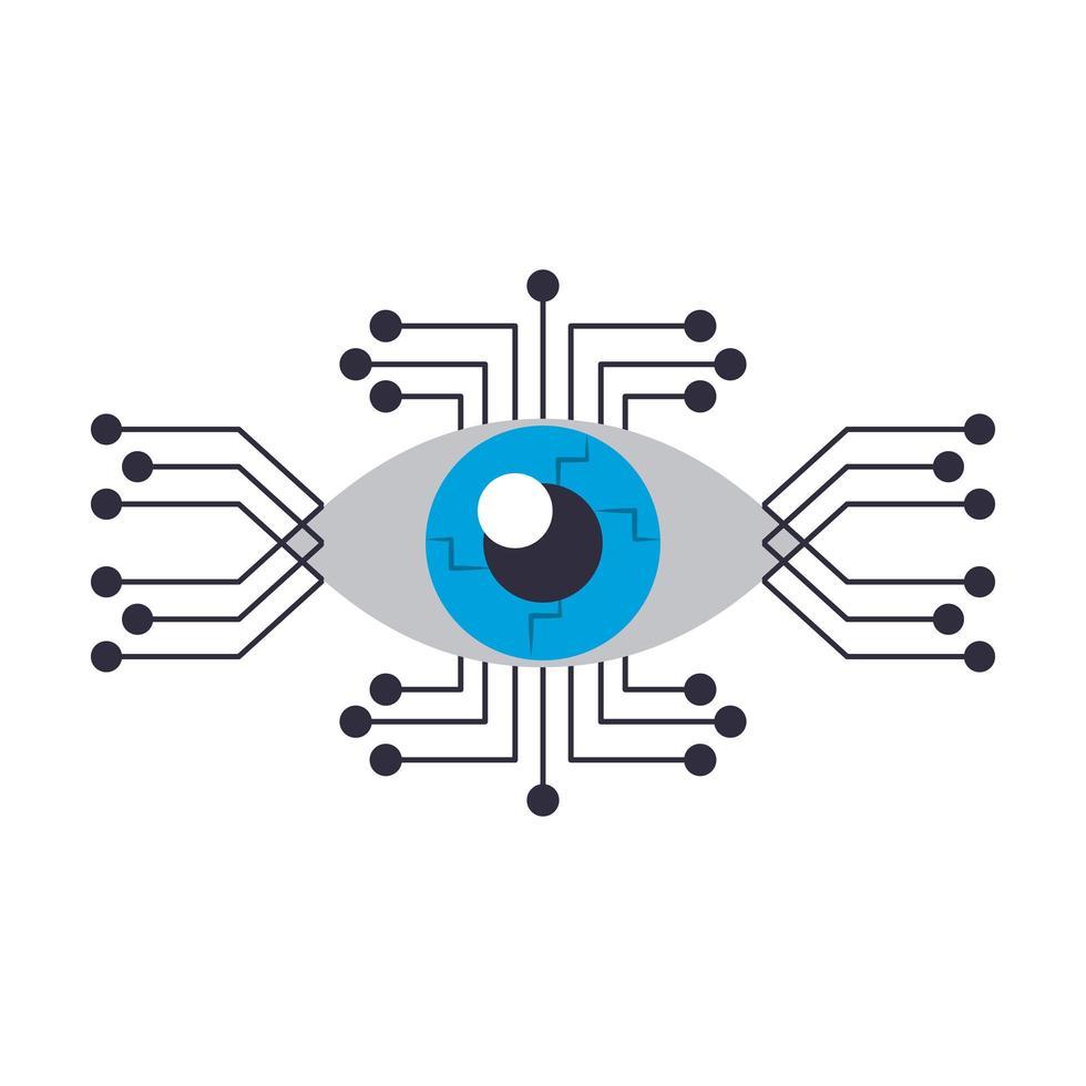 Cyborg eye icon cartoon isolated vector
