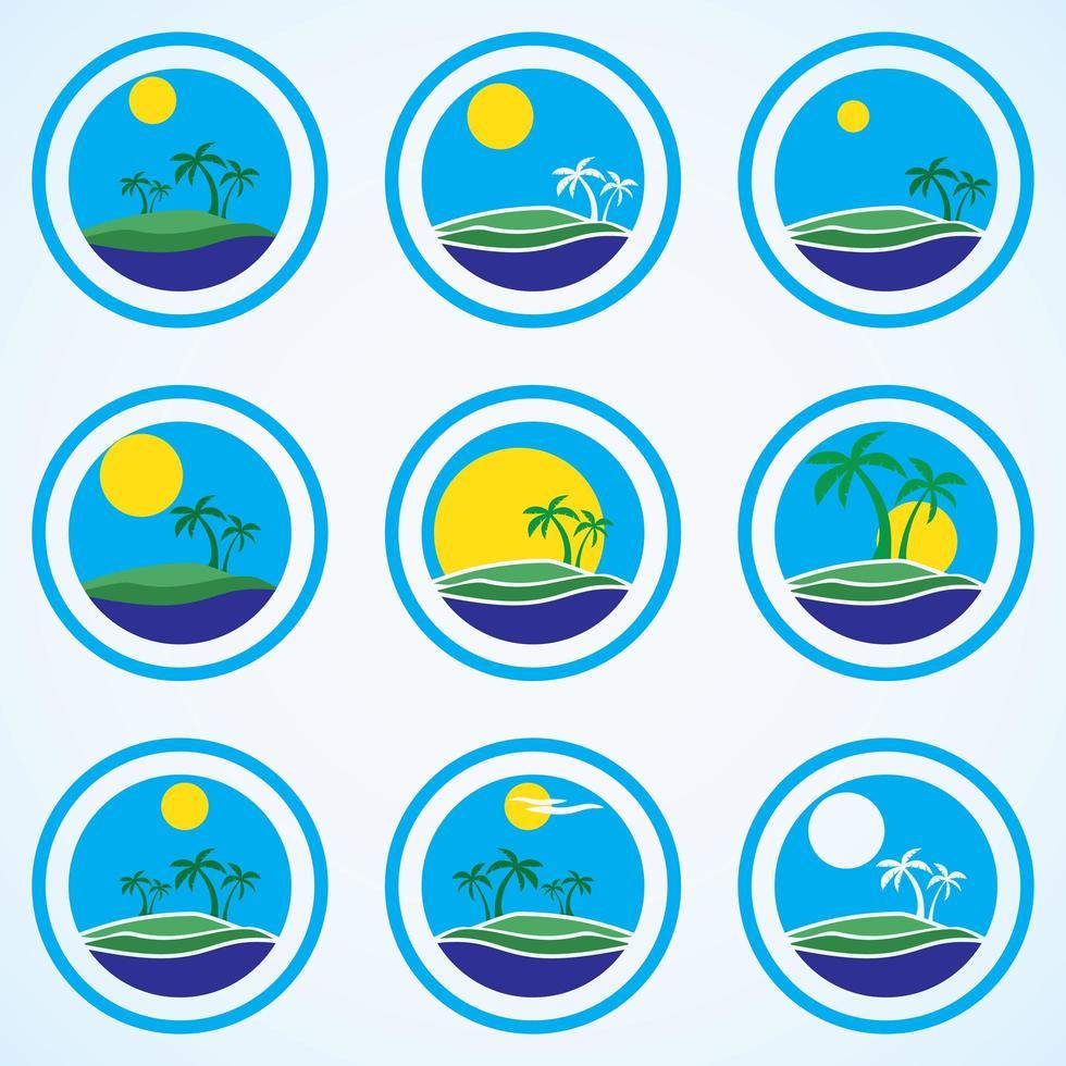 palmeras y sol, logo de resort de playa vector