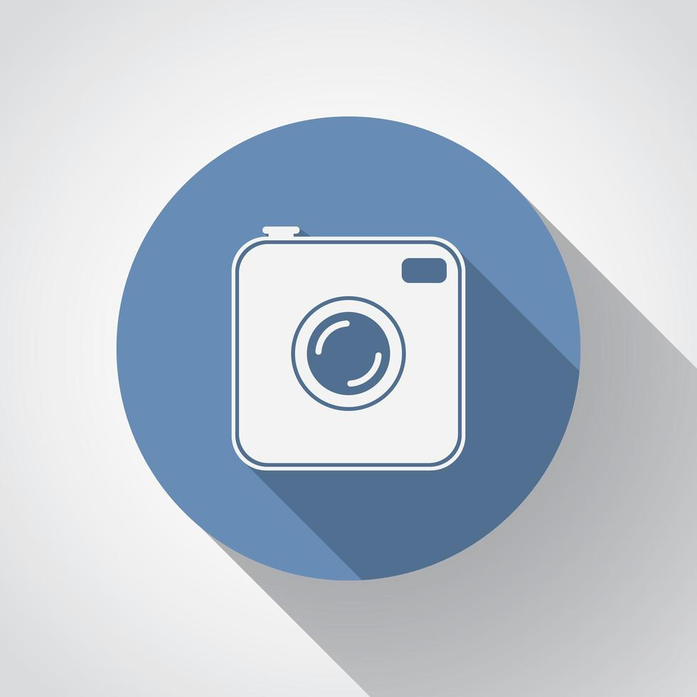 Old photocamera flat icon with long shadow vector