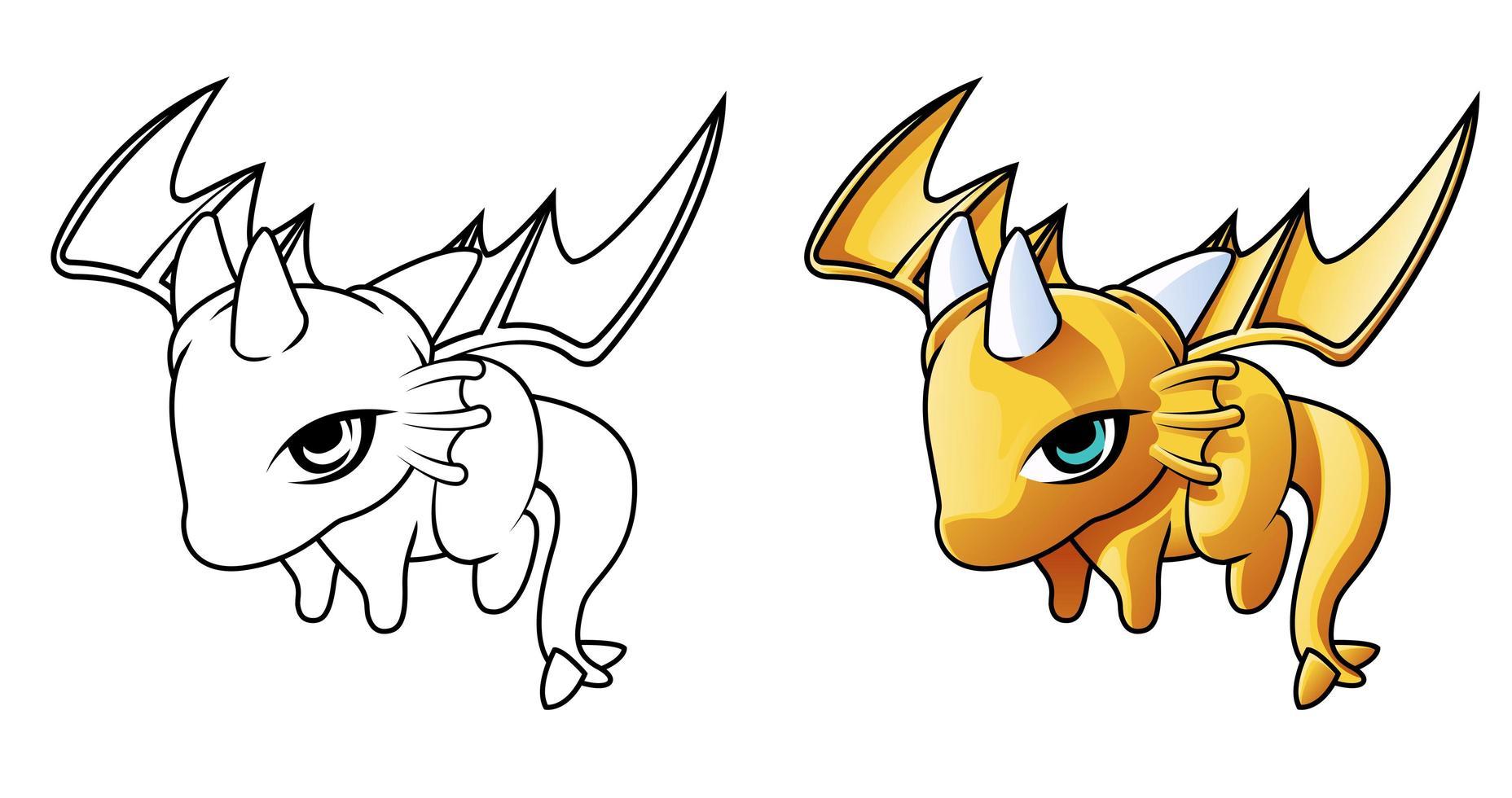 Baby dragon flying cartoon coloring page vector