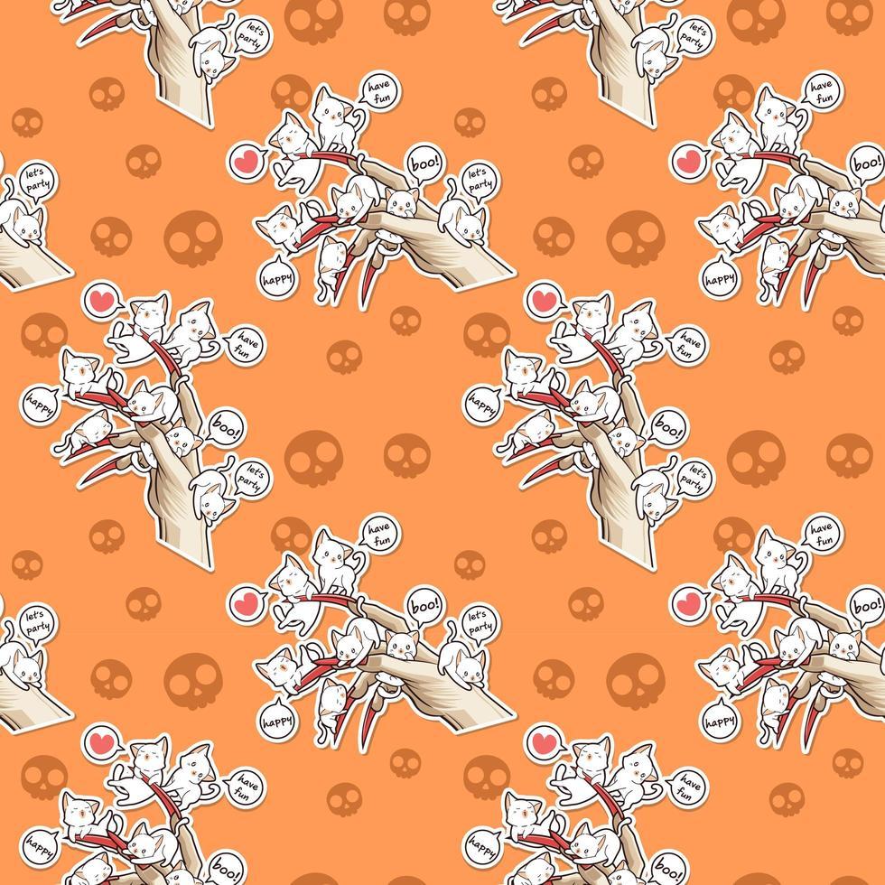gatos kawaii inconsútiles con el patrón del festival de halloween de la mano del diablo vector