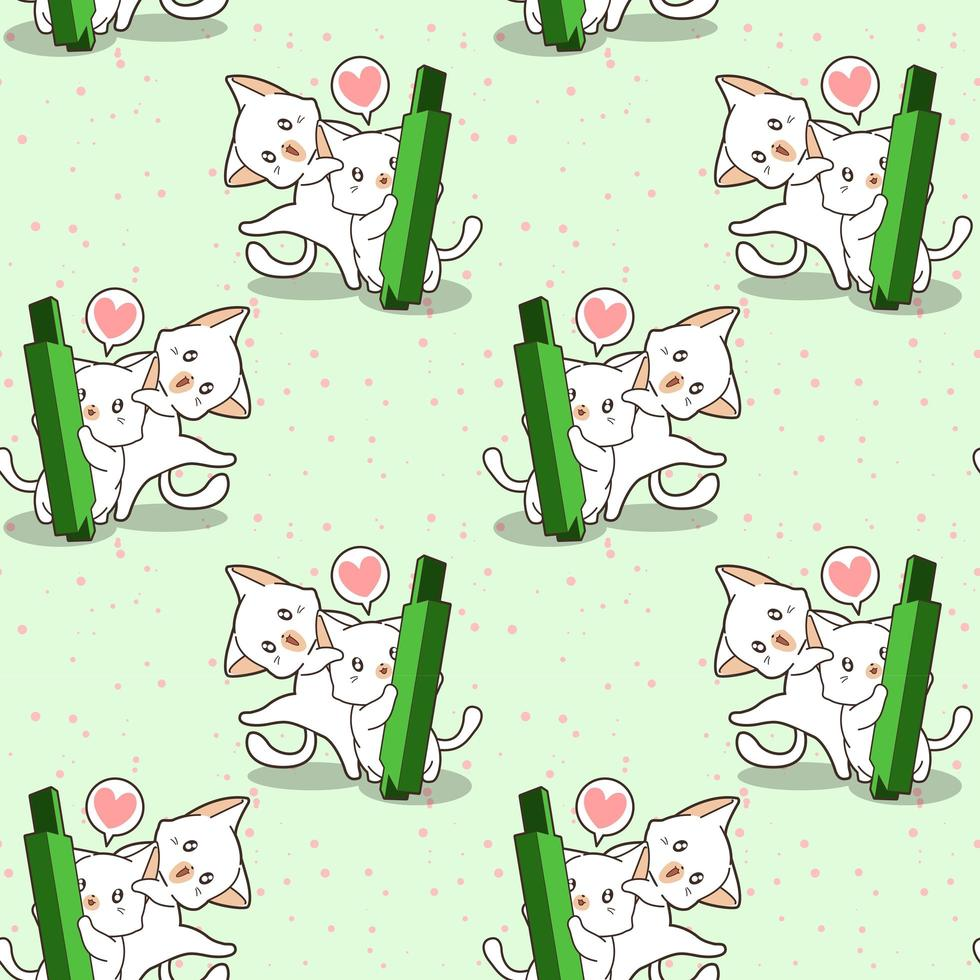 Seamless kawaii cat characters and green candle stick pattern vector