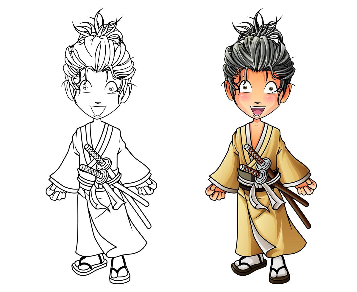 Pagina Para Colorear De Dibujos Animados Lindo Samurai Para Ninos Descargar Vectores Gratis Illustrator Graficos Plantillas Diseno