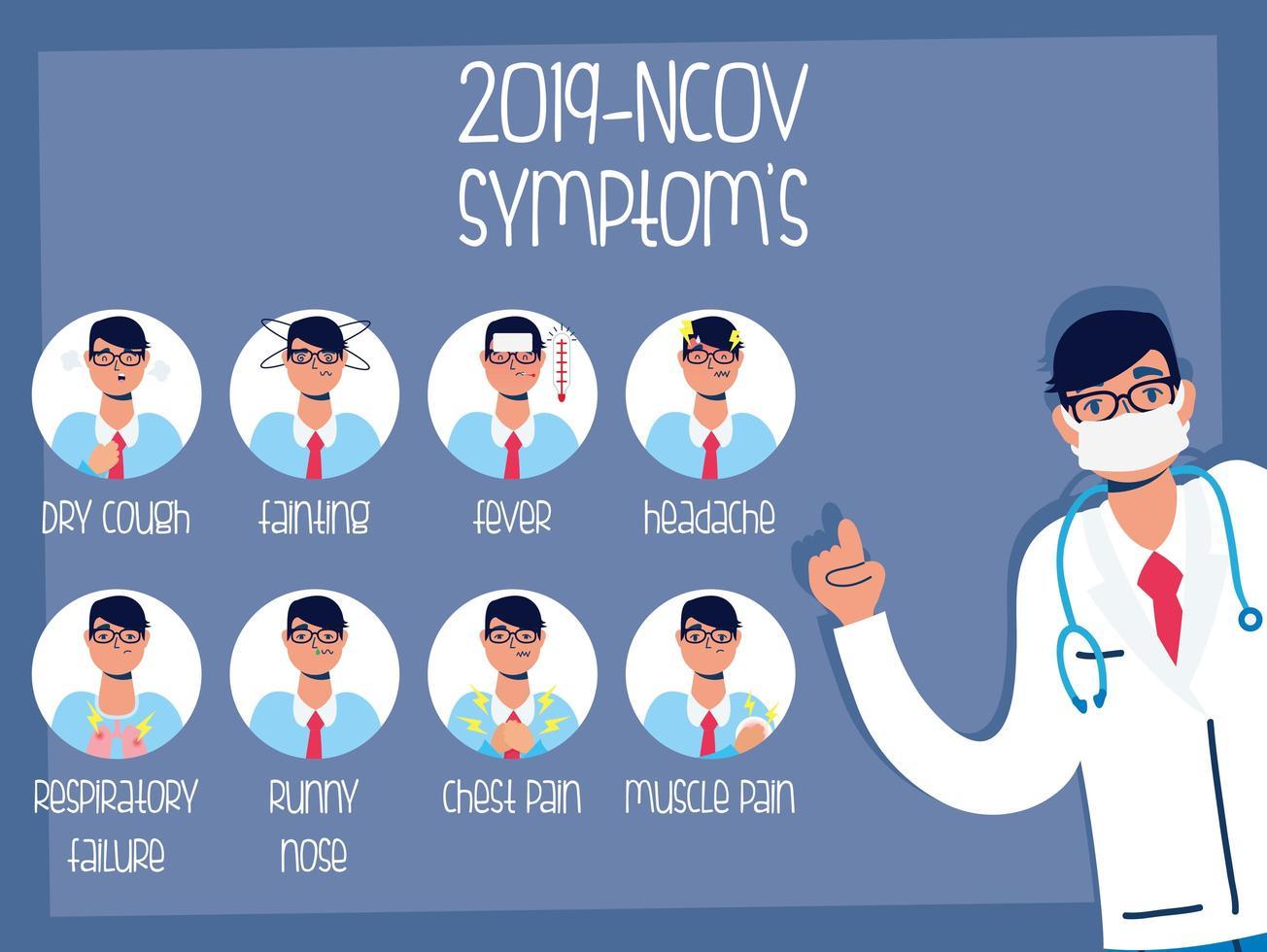Coronavirus prevention and symptoms banner vector