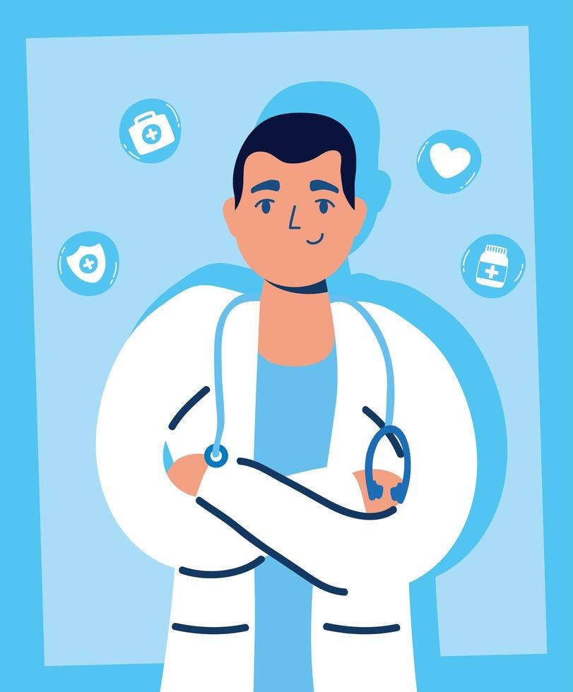 guapo médico masculino con iconos médicos vector