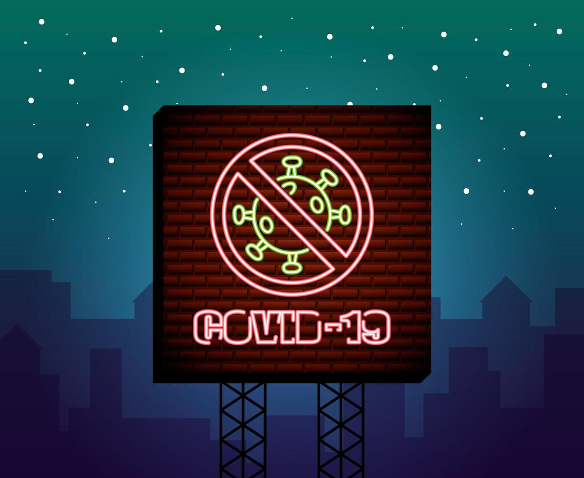 Stop Covid-19 neon sign vector