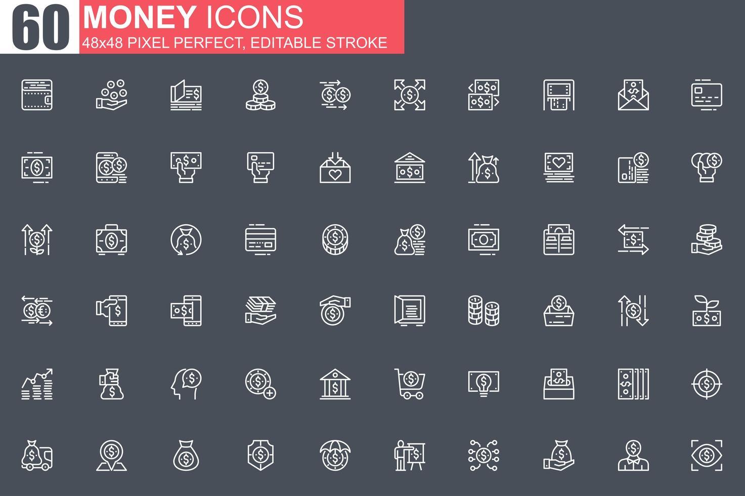 conjunto de iconos de delgada línea de dinero vector