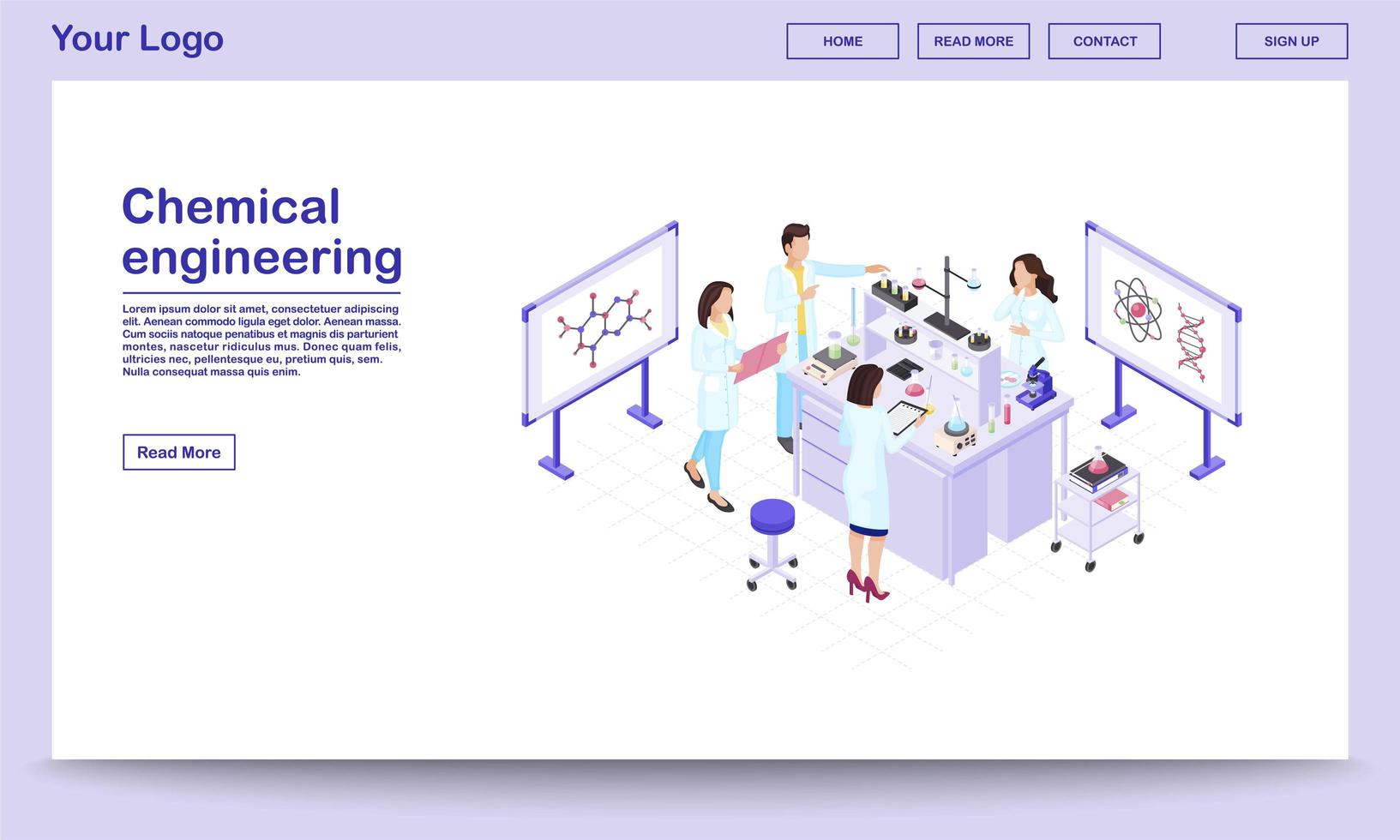Chemical engineering isometric webpage vector