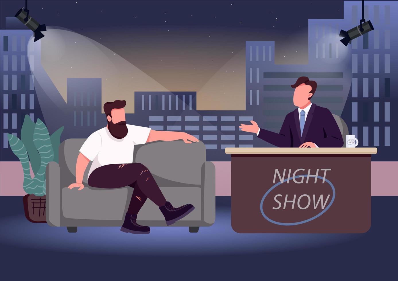 programa de entrevistas de la noche vector