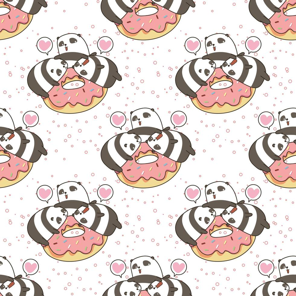 pandas kawaii sin costuras con patrón de rosquilla rosa vector
