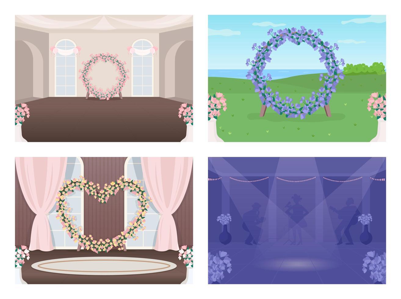 conjunto de lugar de boda decorado vector