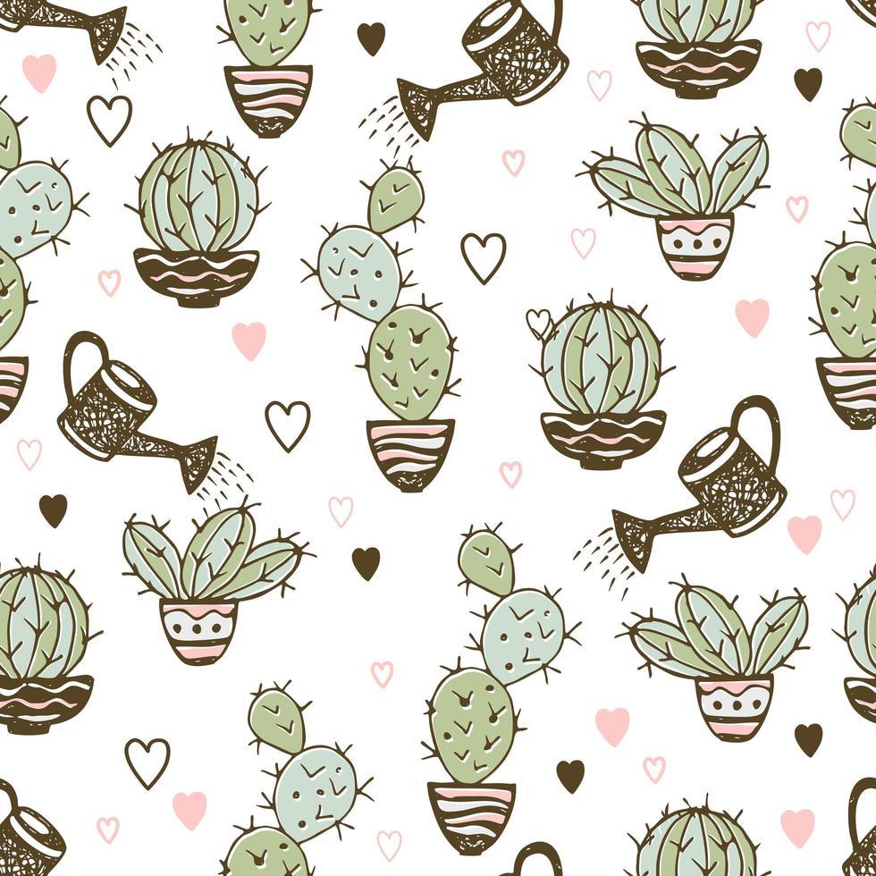 patrón sin fisuras con cactus en macetas y macetas de riego vector