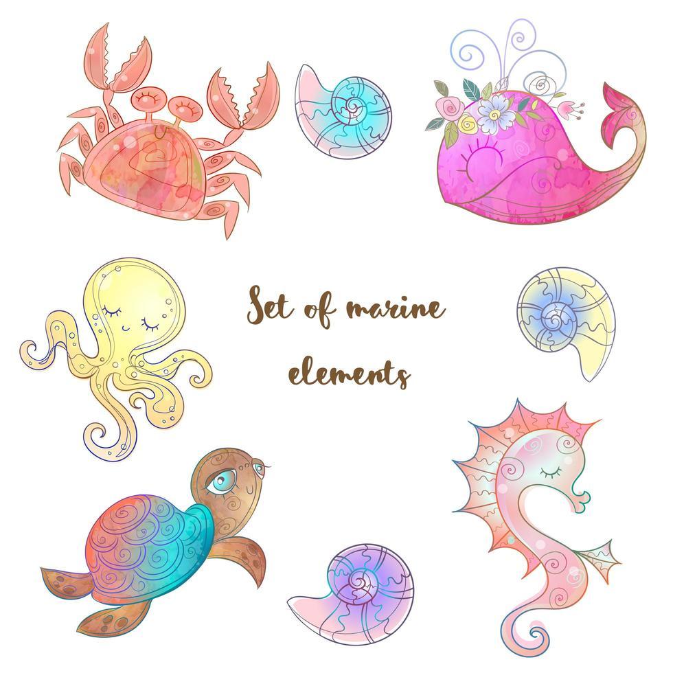 conjunto de lindos animales marinos vector