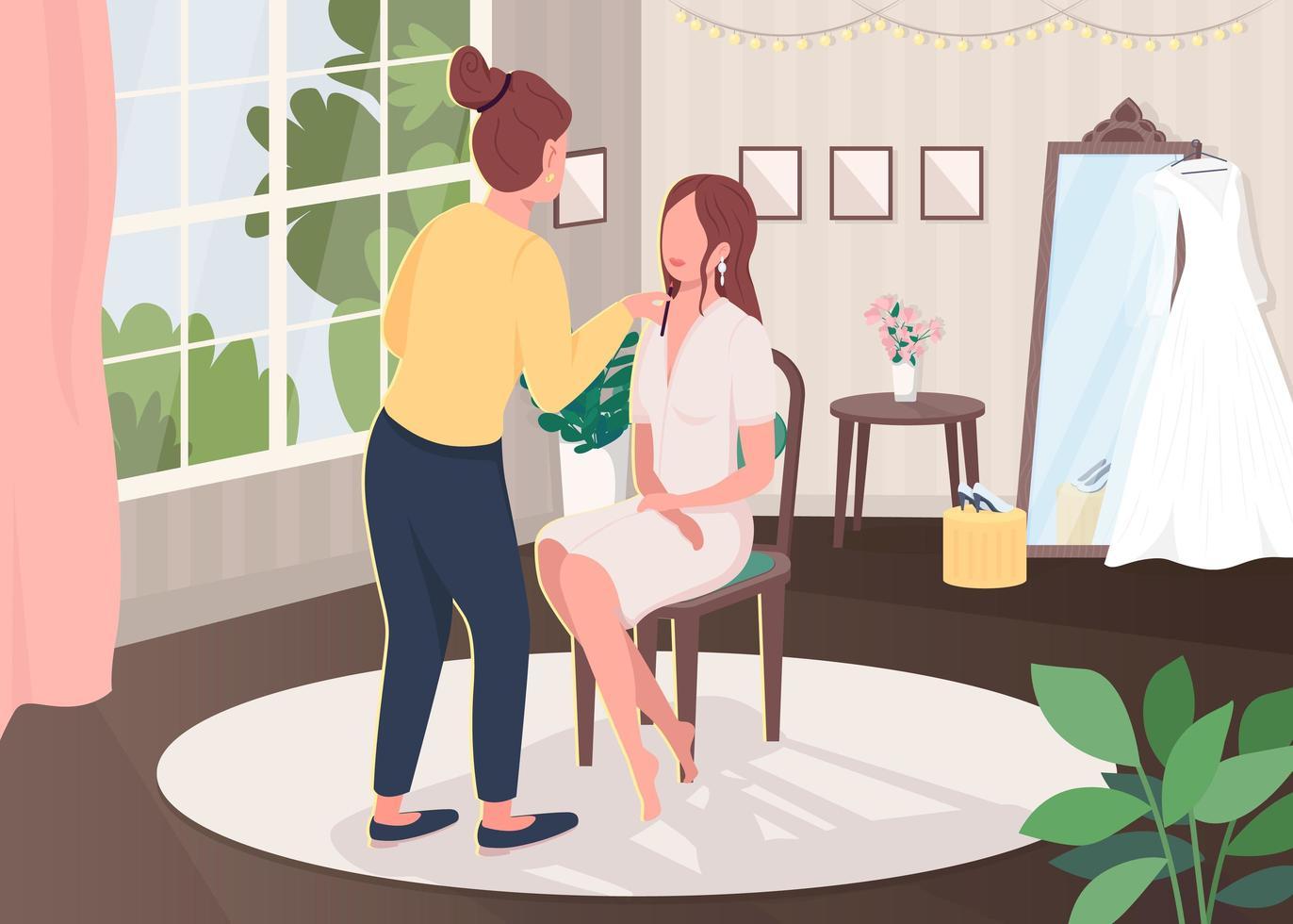 maquillaje de novia plano vector