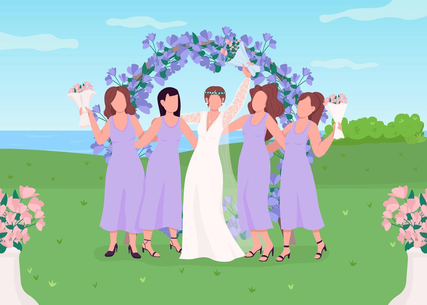 novia con damas de honor vector