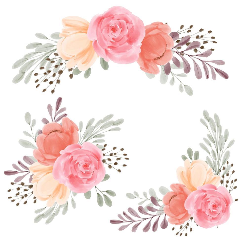 Rose flower arrangement watercolor hand painted bouquet set vector