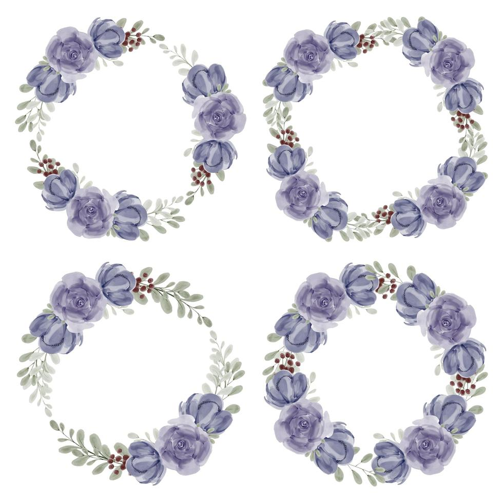 Hand painted rose peony floral wreath collection watercolor style vector