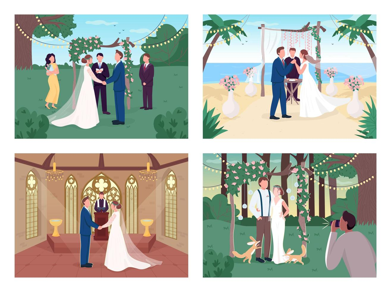 ceremonia de boda religiosa y civil vector